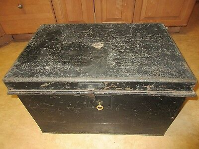 "24"" Antique 1800's Wells Fargo Express Metal Shipping Trunk With Original Key"