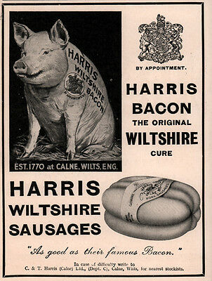 1934 Ad Harris Bacon Sausage Wiltshire Calne Pig With Royal Stamp