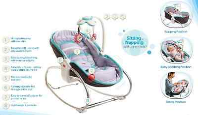 New Tiny Love 3-in-1 Rocker Napper Baby Rocker Napper- Turqoise/Grey