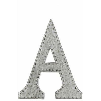 Urban Trends Collection Metal Wall Decor Letter A with Rivets, Galvanized Zinc