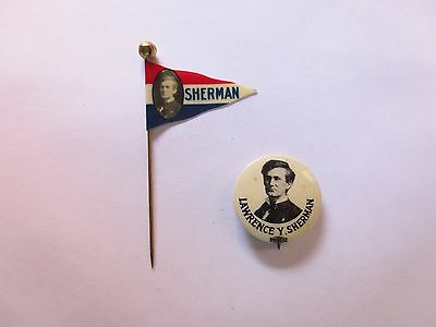 Celluloid Flag and Pinback for Lawrence Sherman for Governor of Illinois