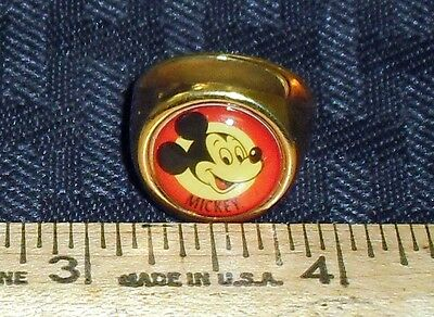 Vintage Mickey Mouse Adjustable Brass Ring Red/gold Nice Used Cond!! M