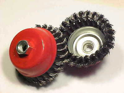 """4"""" Cup Knotted Wire Wheel 2Pc . Set- Pro Grade"""