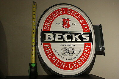Beck's Beer Bier Brauerei & Co Metal Tin Sign Double sided Wall mount