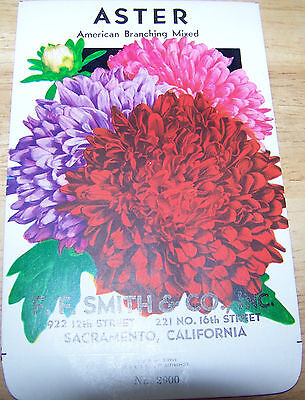 Vintage 1920s Seed packet 4 framing Aster American Mix FF Smith co Sacramento CA