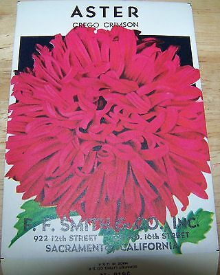 Vintage 1920s Seed packet 4 framing Aster Cre Crimson F F Smith co Sacramento CA