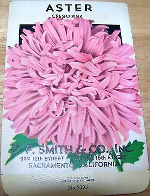 Vintage 1920s Seed packet 4 framing Aster Crego Pink F F Smith co Sacramento CA
