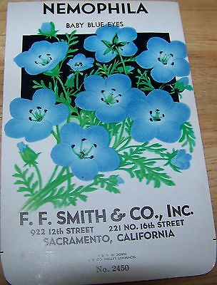 Vintage 1920s Seed packet 4 framing Nemophila blue F F Smith co Sacramento CA