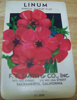 Vintage 1920s Seed packet 4 framing Linum scarlet flax FF Smith co Sacramento CA