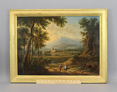 Antique 19thC European Genre, Farmers Family & Sheep, Landscape Oil Painting, NR