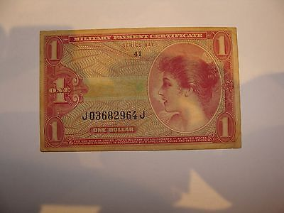1965 Series 641 One Dollar Military Payment Certificate - VF - $2.75 S&H