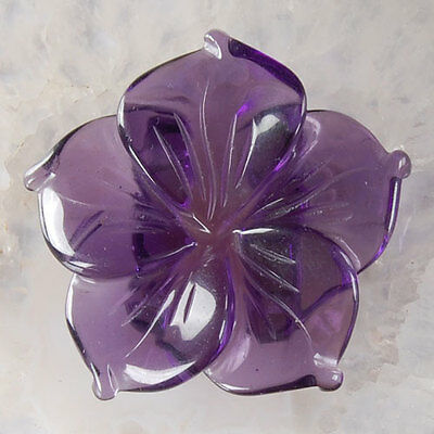 A0376 41x39x11 Amethyst Carved Flower Pendant Bead