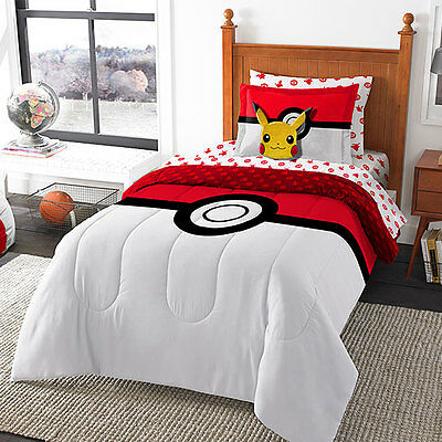 Pokemon Go 8 Piece Bed Set Comforter Fitted Flat Sheet Pillowcases Shams Pillow