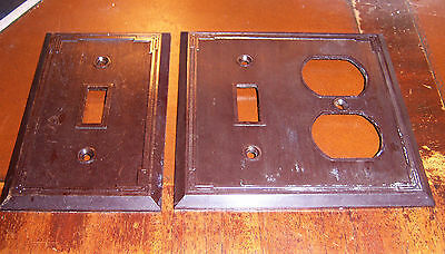 TWO covers single switch + switch/ outlet thin rib art deco edge brown bakelite