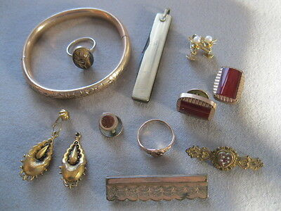 Old VICTORIAN STYLED JEWELRY LOT Goldfill & Gold Shell