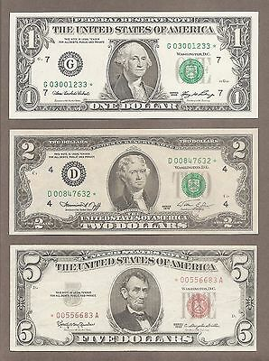 $1 2006 + $2 1976D + $5 1963 - ( 3 ) Green + Red Seal *STAR* Notes