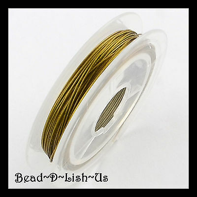 0.38mm / 0.45mm GOLD TIGER TAIL WIRE Beading jewellery DIY 10 metre rolls