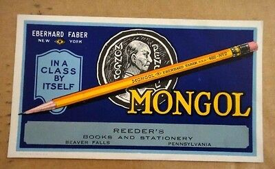 antique UNUSED MONGOL PENCIL ADV INK BLOTTER PAPER reeders,beaver falls pa