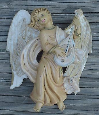 "ANGEL PLAYING MANDOLIN CHRISTMAS Resin FIGURINE SIGNED ITALY 5"" x 4 ½"" VINTAGE"