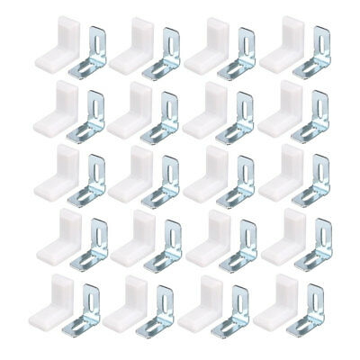 Shelf 90 Degree Angle Brackets Corner Braces Supports White Silver Tone 20 Sets