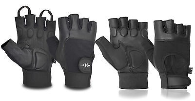 Men's Real Leather Exercise Work Cycling Gym Training Finger Less Padded Gloves