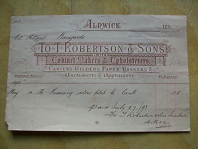 1893 Invoice+: T.robertson & Sons. Alnwick. (Silver Plate To Bank).