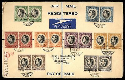 South West Africa 1937 coronation Set Registered First Day cover