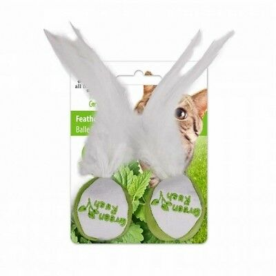 All for Paws Green Rush Feather Ball - 2er Pack