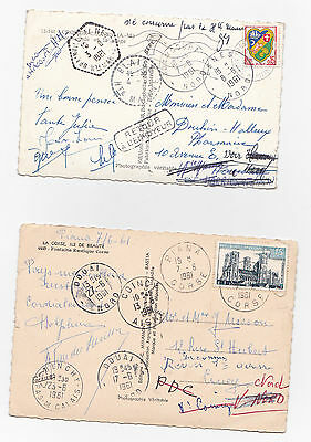 France, Corsica Two P/cds 1961 Undelivered 'retour/a L'envoyeur' Many Postmarks