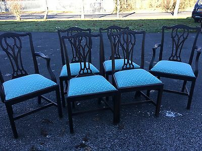 Set Of 6 Victorian Mahogany Chippendale Style Chairs 2 Carvers Can Courier Vgc