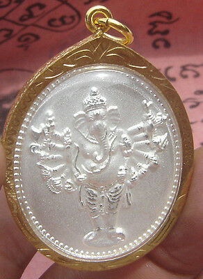 Locket Tablet amulet Multi Arm Ganesh Hindu god back Om