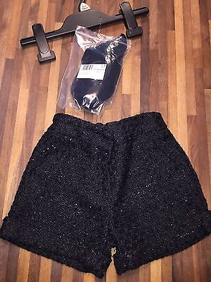 F&f FLORENCE And FRED Girls Black Shorts And Tights Set Age 5/6 IMMACULATE