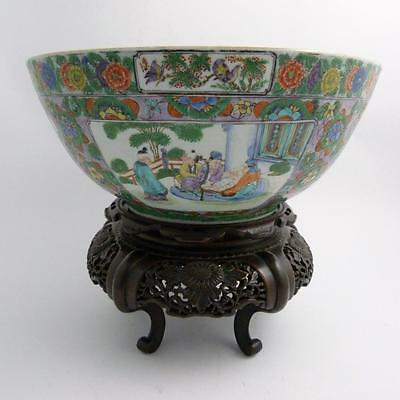 Large Chinese Famille Verte Porcelain Punch Bowl, Daoguang Period, On Wood Stand