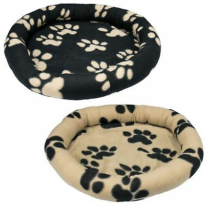 Soft Donut Pet Dog Bed Cushion New Soft Cosy Warm Fleece Puppy Paw Print Round