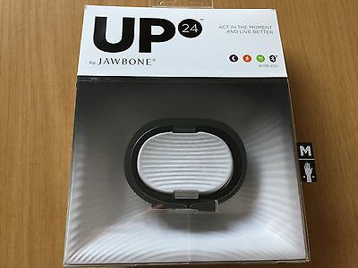 New Jawbone Up24 Onyx Black Medium Fitness Tracking Wristband Iphone/android
