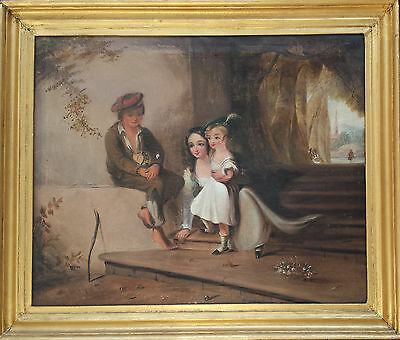 SCOTTISH CHILDREN PLAYING MARBLES - ORIGINAL 19th CENTURY OIL PAINTING ON CANVAS