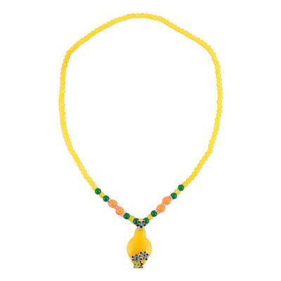 Outdoor Woman Plastic Bead Flower Decor Pendant Necklet Necklace Ornament