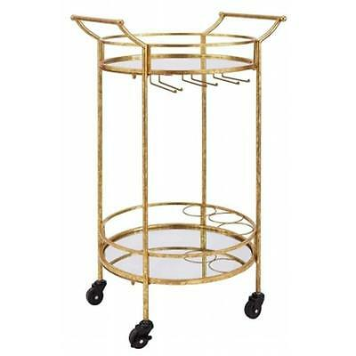 LinonHomeDecor AHW808AS1 Round Gold Metal Bar Cart