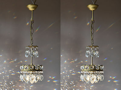 Sale Matching Pair Mini Antique French Vintage Crystal Chandelier Lamp Lighting