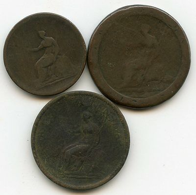 Collection 3 Georgian copper coins - King George III