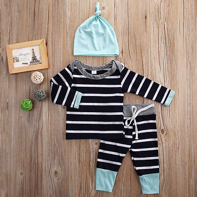 3PCS Newborn Baby Boys Girls T-shirt Tops Pants Hat Clothes Bodysuit Outfits Set