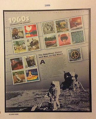 U S A 1999. (1960s) The Rebellious Sixties And Man On The Moon Sheet MNH
