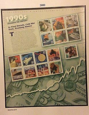 U S A 2000. (1990s). In Final Decade! Cold War Ends, Economy Booms.Sheet MNH