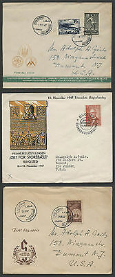 Finland and Denmark: Lot of Three 1947 First Day Covers FDC's Scandinavia