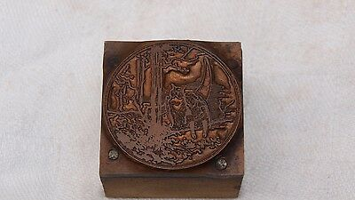 Copper Printing Wooden Block Plate Owl,young Girl & Moon Crescent On Tree Branch