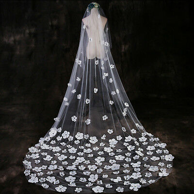 3M Wedding Bridal Long Veil Flower Petals Church Cathedral Length Wedding Decor