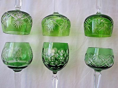 SIX cut to clear crystal GOBLETS different designs GREEN Germany CHRISTMAS TABLE