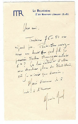 Maurice Ravel original autograph signed letter french classical composer