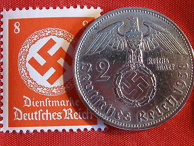 Old German NAZI WAR COIN 1938WWII w/Sw. +RARE STAMP