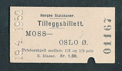 QY3024d NORWAY 3rd cl Moss - Oslo 19.4.1952
